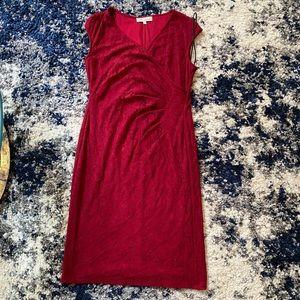 red burgundy midi dress